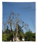 Dead Tree With Crow Fleece Blanket