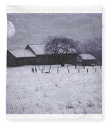 December Moonrise Farmstead Fleece Blanket