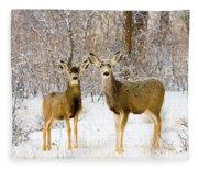Deer In The Snowy Woods Fleece Blanket