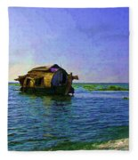 Digital Oil Painting - A Houseboat Moving Placidly Through A Coastal Lagoon In Alleppey Fleece Blanket