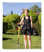 Do It Yourself Gardening Lady Fleece Blanket