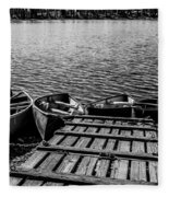 Dock At Island Lake Fleece Blanket