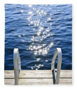 Dock On Summer Lake With Sparkling Water Fleece Blanket
