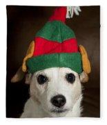 Dog Wearing Elf Ears, Christmas Portrait Fleece Blanket