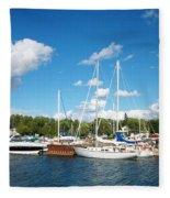 Door County Harbor Fleece Blanket