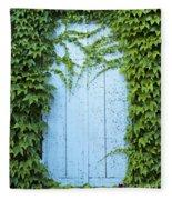 Door Framed By Plants Fleece Blanket