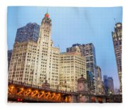 Downtown Chicago View Fleece Blanket