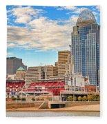 Downtown Cincinnati Pano1 Fleece Blanket