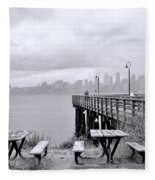 Downtown Seattle As Seen From Alki Beach Fleece Blanket