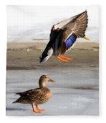 Ducking Around Fleece Blanket