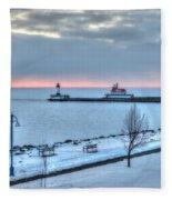 Duluth Winter Sunrise  Fleece Blanket
