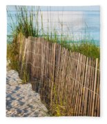 Dune Fence On Beach  Fleece Blanket