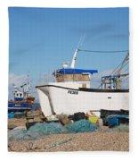Dungeness Fishing Boats Fleece Blanket