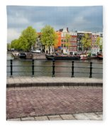 Dutch Houses By The Amstel River In Amsterdam Fleece Blanket