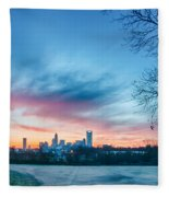 Early Morning Sunrise Over Charlotte City Skyline Downtown Fleece Blanket