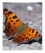 Eastern Comma Butterfly Fleece Blanket
