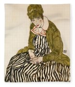 Edith With Striped Dress Sitting Fleece Blanket