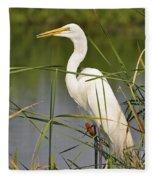 Egret In The Cattails Fleece Blanket