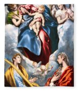 El Greco's Madonna And Child With Saint Martina And Saint Agnes Fleece Blanket