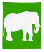 Elephant In Green And White Fleece Blanket