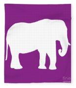 Elephant In Purple And White Fleece Blanket