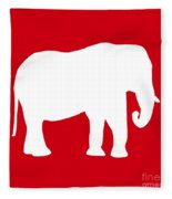 Elephant In Red And White Fleece Blanket
