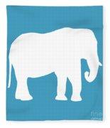 Elephant In White And Turquoise Fleece Blanket