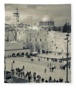 Elevated View Of The Western Wall Fleece Blanket