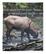 Elk Drinking Water From A Stream Fleece Blanket