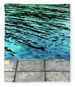 Empty Pier And River Water Fleece Blanket