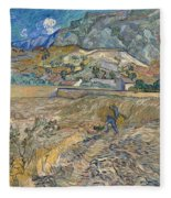 Enclosed Wheat Field With Peasant  Fleece Blanket