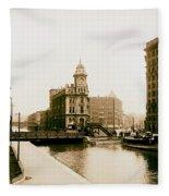 Erie Canal On Salina Street In Syracuse New York - Circa 1904 Fleece Blanket
