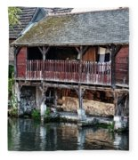 Eure River And Old Fulling Mills In Chartres Fleece Blanket