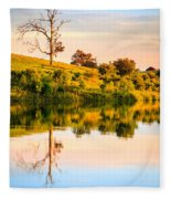 Evening On The Lake Fleece Blanket