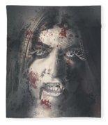 Evil Dead Vampire Woman Looking In Bloody Window Fleece Blanket