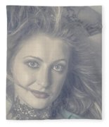 Face Of Beautiful Woman In Makeup Close-up Fleece Blanket