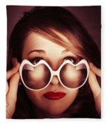 Face Of Cool Fashion Woman In Retro Summer Love Fleece Blanket
