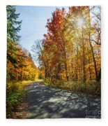 Fall Forest Road Fleece Blanket
