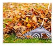 Fall Leaves With Rake Fleece Blanket
