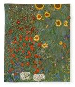 Farm Garden With Sunflowers Fleece Blanket
