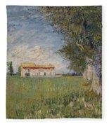 Farmhouse In A Wheat Field Fleece Blanket