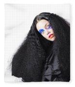 Fashion Model In Black Fleece Blanket