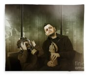 Father And Son In Gasmask. Nuclear Terror Attack Fleece Blanket