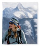 Female Backcountry Skier Skinning Fleece Blanket