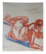 Female Figure Painting Fleece Blanket