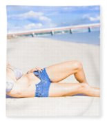Female Vacationer Relaxing At Tropical Paradise Fleece Blanket