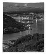 Ferrol's Estuary Panorama From La Bailadora Galicia Spain Fleece Blanket