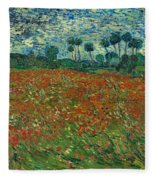 Field With Poppies  Fleece Blanket