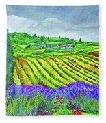 Fields At Dievole Fleece Blanket