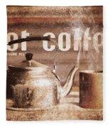Fine Art Coffee Shop Tin Sign Insignia Fleece Blanket